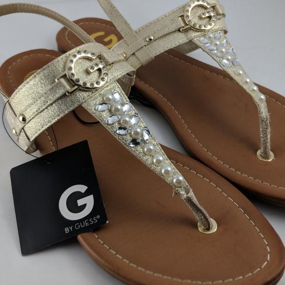 f73589a313d68b Guess Shoes - GUESS Gold Glitter Flat Strap Thong Sandals